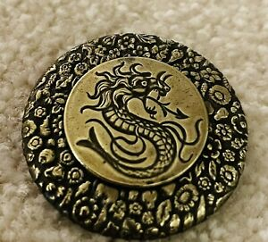 Ex rare Antique DRAGON brass Button, Ca 1880s/1890s, Back Marked