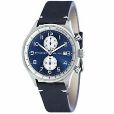Spinnaker Men Maritime SP-5050-02 44mm Blue Dial Leather Chronograph Watch