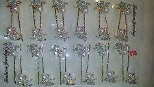 Joblot 12 Pairs Mixed Colour Diamante Metal Hair Slide Wholesale Lot E