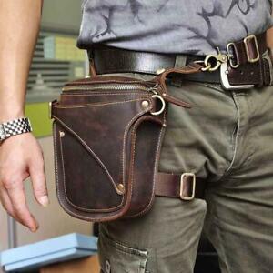Real Leather Cowhide Waist Hip Bum Pack Motorcycle Messenger Drop Leg Bag