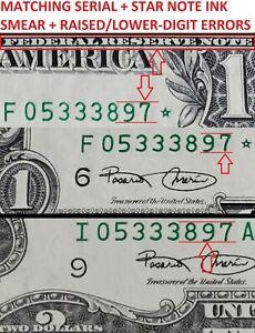 MATCHING Serial $2 & STAR $1 Dollar Bills Notes INK SMEAR + DIGIT ERRORS BOTH CU