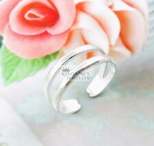 925 Sterling Silver Double Band Line Design Toe Ring