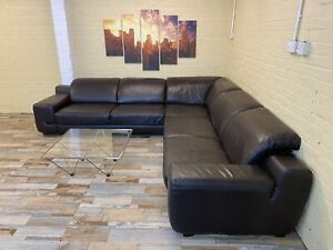 Pristine Plush Brown Leather Corner Sofa