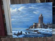 """OIL Painting-High Quality Oil on Canvas Painting European? Snow Scene20x24""""NEW"""