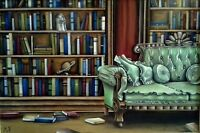 Large Fine Art Oil Painting Library Books Sofa Couch Interior Room Ornate