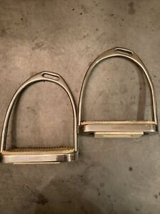 """Coronet Offset Stainless Steel 4 3/4"""" Stirrup Irons. Used, Very Good Condition."""