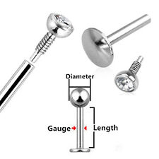 1X 16G Surgical Steel Lip 6mm Bar 2mm Gem Labret Monroe Tragus Stud Piercing New