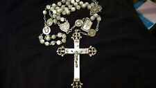 ANTIQUE 1800'S STERLING SILVER MOTHER OF PEARL HEART ORNATE ROSARY GORGEOUS!