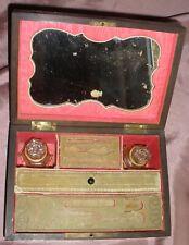 Coffret Napoléon III bois & laiton - Couture & beauté miroir / flacon de parfum