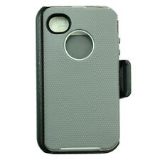 For Apple iPhone 4/4s Heavy Duty Defender Case  W/Belt Clip&Screen Gray White