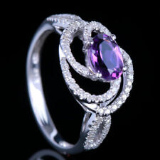 Solid 14k White Gold Oval 7x5mm Amethyst Real Diamond Gemstone Ring Fine Jewelry