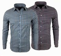 Camicia uomo quadri slim fit blu celeste cotone casual primaverile S M L XL XXL