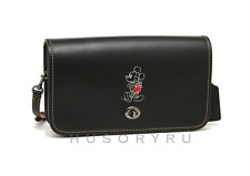 Coach Disney X Penny Crossbody Glove Calf Leather Mickey Mouse Black $395 Nwt