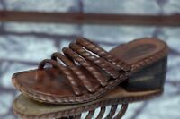 COLE HAAN Women's Brown Rope Leather Sandals Slides Heels Size 7.5B 7.5 B
