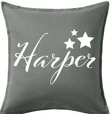 Personalised Text on Grey Cushion Cover Custom Gift Name + Stars White Text