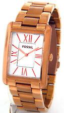 FOSSIL ES3320 LADIES STELLA ROSE GOLD TONE STEEL CASE BRACELET RECTANGULAR FACE