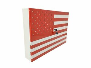American Flag Gun Cabinet Safe Lock Wall Mount Art Decor Concealed Storage Shelf