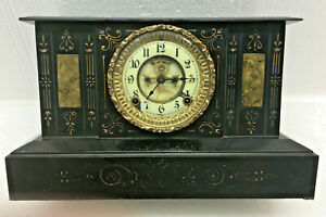 Antique Ansonia Enameled Iron Case Open Escapement Mantel Clock