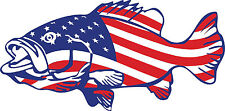 Bass American Flag Patriotic Fishing Vinyl Sticker Decal Car Truck