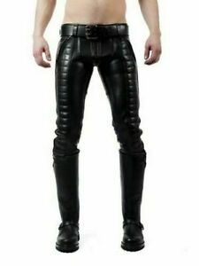 """42"""" Men's Original Leather Trouser Jeans Breeches Padded Pants BLUF Lederhosen"""