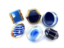 Vintage 1940's 1950's Cobalt Sky Blue Glass Sewing Buttons Gold Luster Lot
