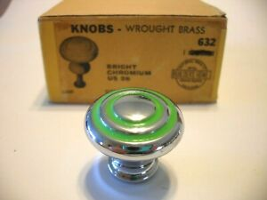 """Vintage NOS 1-1/8"""" CHROME BRASS CABINET KNOB GREEN RINGS Concentric Drawer Pull"""