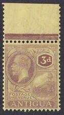 ANTIGUA 1921-29 KGV SG74 3d PURPLE PALE YELLOW MARGINAL UNMOUNTED MINT