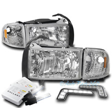 FOR 94-01 DODGE RAM CRYSTAL STYLE CHROME HEADLIGHTS HEADLAMPS W/LED DRL LAMP+HID