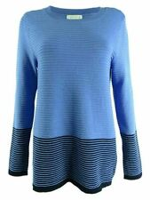 Charter Club Women's Colorblocked Sweater Cerulean Sky Size XS