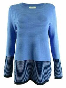 Charter Club Women's Colorblocked Sweater Cerulean Sky Size XS