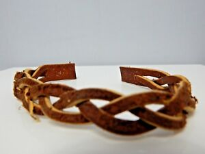 Nos Vintage 70s Brown Leather Braid Strap Unfinished Wristband Cuff Bracelet Diy