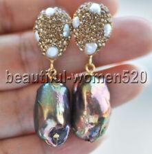 Z9145 23mm Peacock-Green Baroque Keshi Pearl Inlay Crystal Dangle Earring