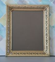 Vintage Ornate Classical Style Metal Glass Picture Frame Gold Tone Patina 10x12