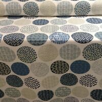 Casa Retro Indigo/Grey Cotton Curtain/Craft Fabric