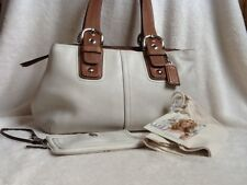 Lovely White Leather Coach Handbag with Wristlet EUC + New DNKY Cosmetic Bag