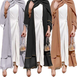 Dubai Open Kimono Abaya Muslim Women Maxi Dress Kaftan Jilbab Cocktail Islamic