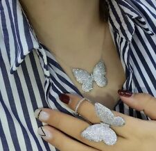 Cubic Zirconia Butterfly Silver Plated Pendant Necklace