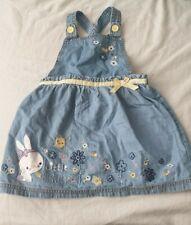 Baby Girls 9-12 Months Blue Pinafore Dress Nutmeg Bunny Rabbit Easter Cotton