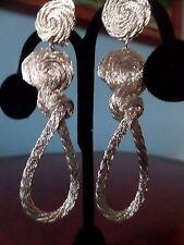 Greek Silver Wire Metal Dangle Clip on Earrings