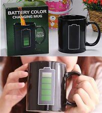 Black Ceramic Battery Meter Mug Coffee Tea Temperature Magic Color Changing Cup