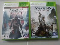Microsoft Xbox 360 | Assassin's Creed III & Rogue. Tested. CIB. Free Shipping