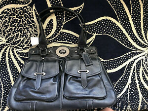 NWT AUTHENTIC COACH Garnet Text LEATHER Ella Tote PURSE Black 14611