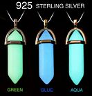 GLOW in the DARK Blue Opalite Crystal Quartz Pendant Sterling Silver Necklace