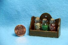 Dollhouse Miniature Wood Spice Rack with 3 Bottles - IM65233