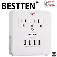 BESTTEN 4 USB Ports (4.2A) 3-Outlet Surge Protector Wall Adapter Tap ETL White