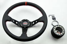 Mazda Miata 35cm JDM SPORT Red Dish Steering Wheel w/ Boss Kit Hub Adapter
