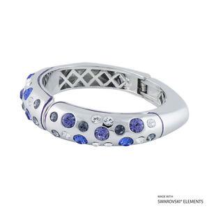 Bangle Bracelet Sapphire, Tanzanite, Silver Night SWAROVSKI ELEMENTS Crystals