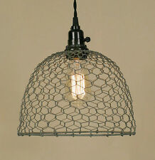 Vintage Rustic Industrial Chicken Wire Dome Pendant Light Lamp Barn Roof Gray