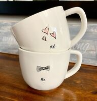 RARE Rae Dunn MR. & MRS. Coffee TEA CUPS/MUGS Wedding Pink and Grey interior HTF
