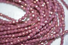 Czech Fire Polished 4mm round faceted glass beads - Halo Ethereal Cherub